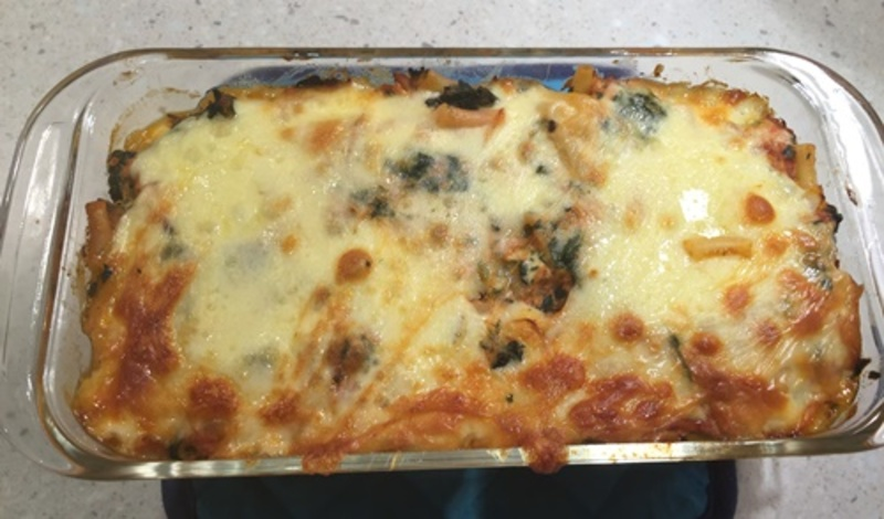 adding,pasta,and,spinach  - Chicken and Spinach Pasta Bake