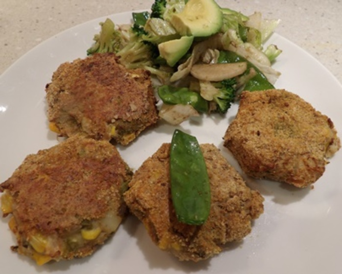 baked,tuna,and,corn,patties,with,a,green,salad