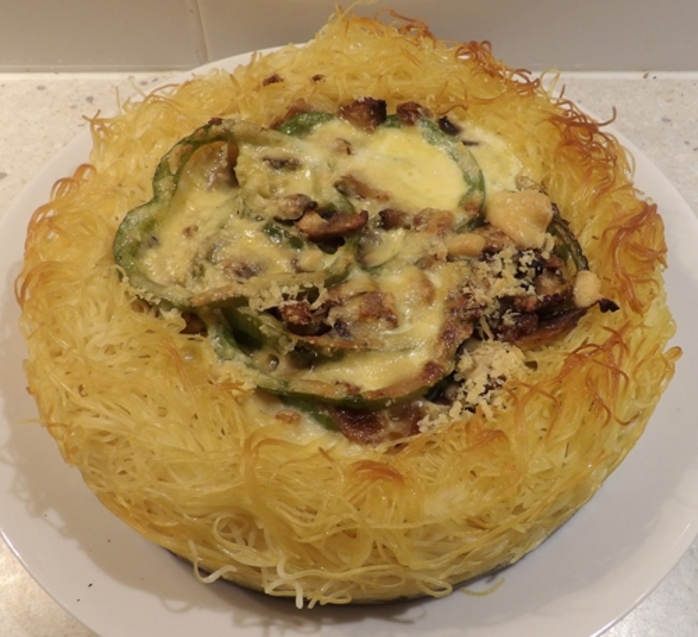 baked,vermicelli,flan,with,mushrooms