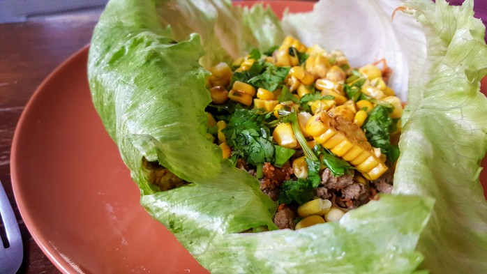 Beef and Corn Lettuce Cups