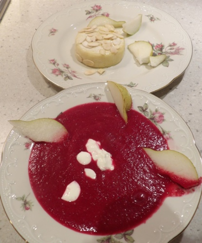 beetroot,hot,soup,with,baked,camembert,and,almonds