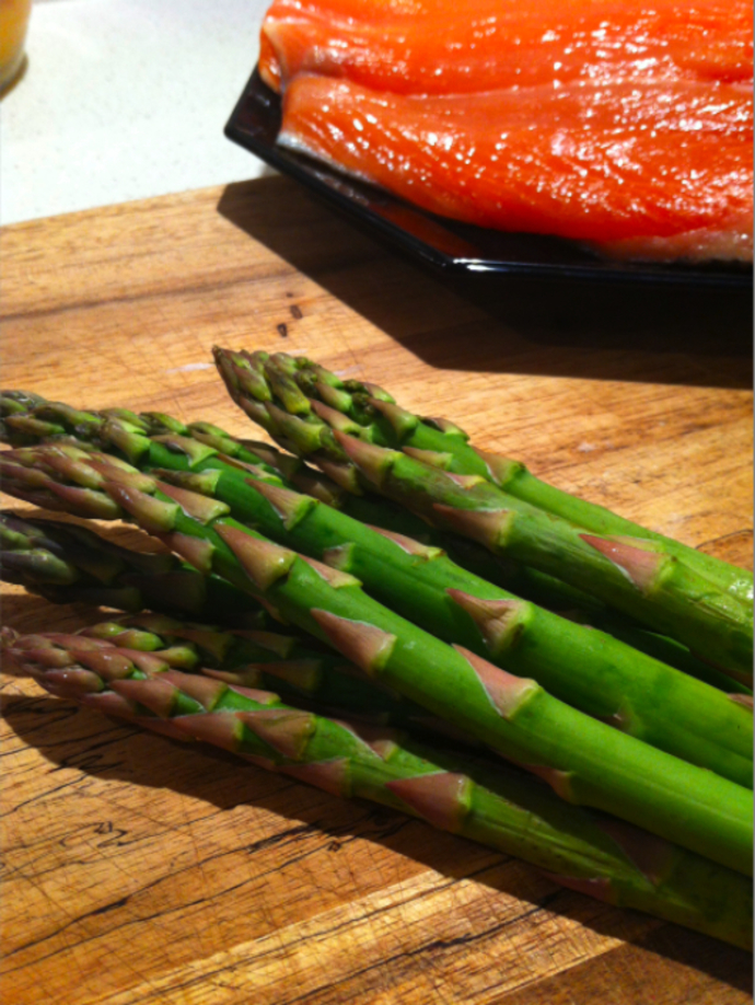 Blanche the asparagus then saute in butter