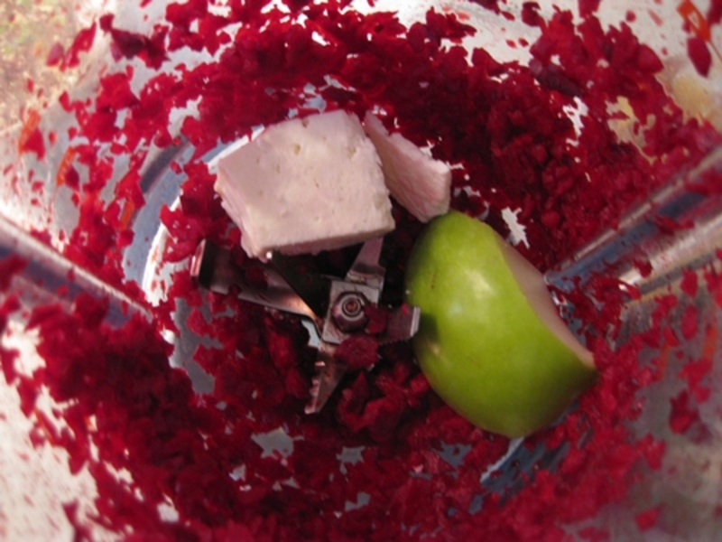 blitzing,apple,beetroot,fetta  - Quinoa Burger With Beetroot, Apple And Fetta Relish