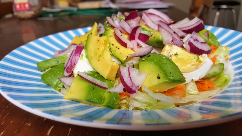 Boiled egg and avocado salad