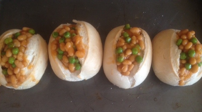 Bread rolls filled with baked beans