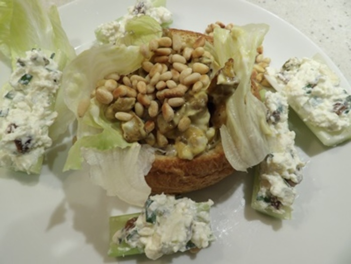 bread,baskets,with,curried,mushrooms,in,mayonnaise,with,celery,boats
