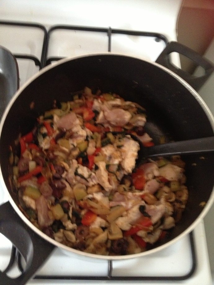 Sautee the onions, capsicum, olives, mushrooms, garlic and chilli.