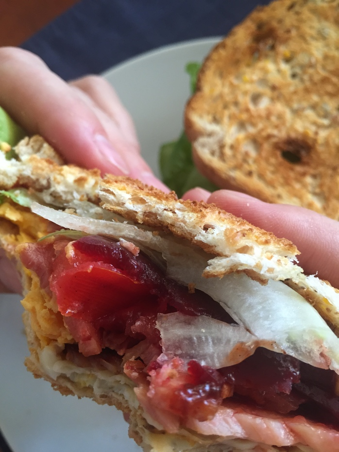 Brunch Bacon, Egg, Lettuce, Tomato (BELT) And Beetroot Toasted Sandwich With Homemade Tomato Sauce