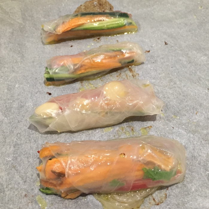 Baked Rice Paper Rolls
