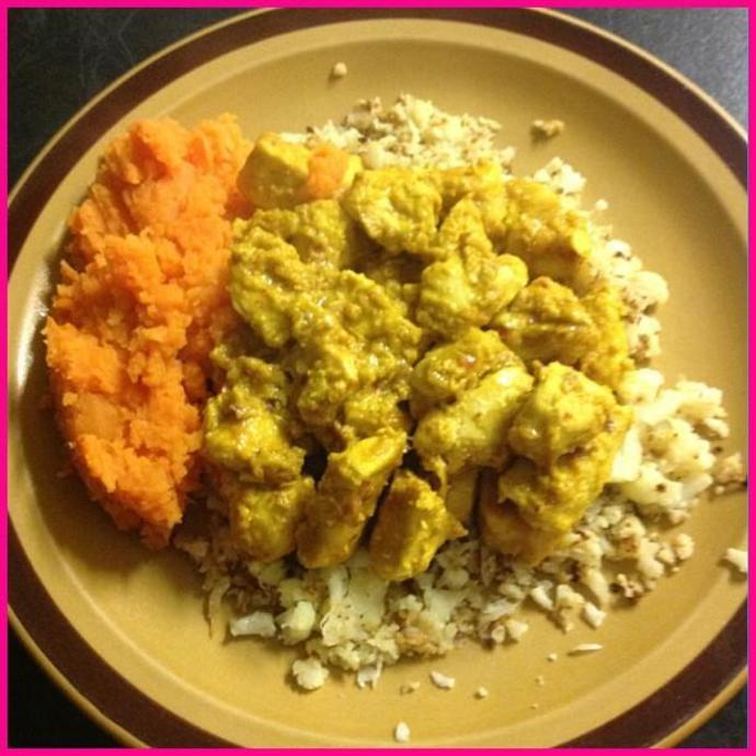 butter chicken, peanut butter chicken, cauliflower, cauliflower rice, sweet potato, clean eating, clean, healthy, low fat, low calorie
