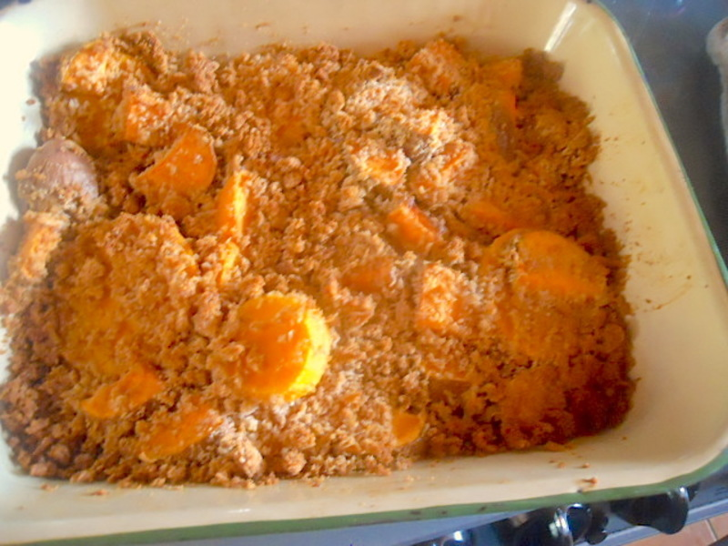 butternut squash, sweet potato, crumble