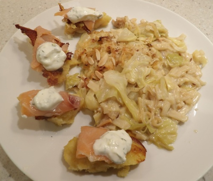cabbage,casserole,served,with,polenta,and,smoked,salmon