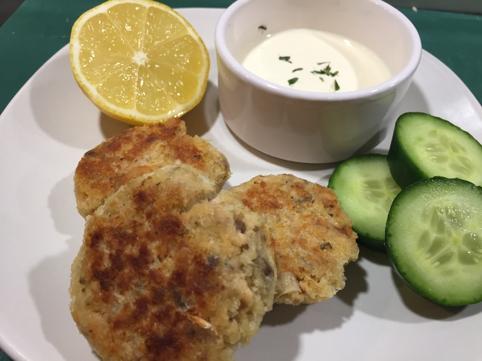 Canned salmon, nuggets, fish cakes, kids