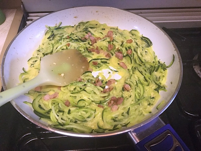 carbonara, courgette, zucchini, courgetti, dinner, pasta