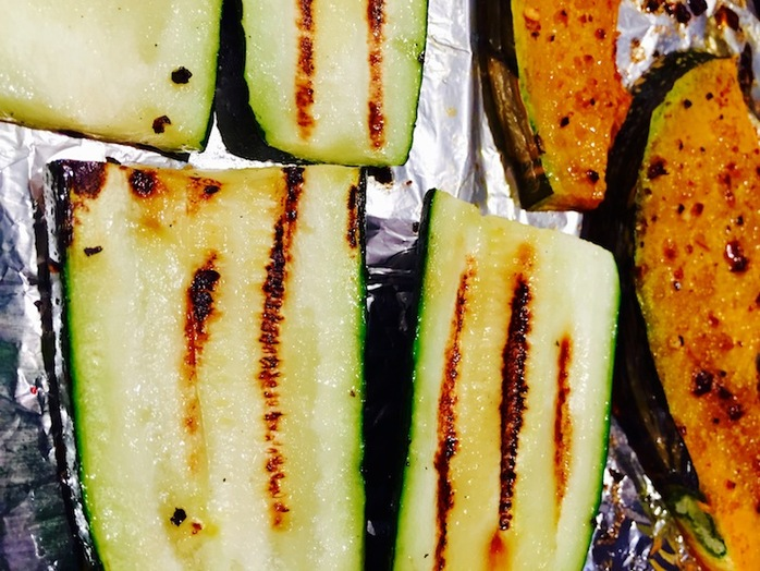 Charring the zucchini is an alternative to baking