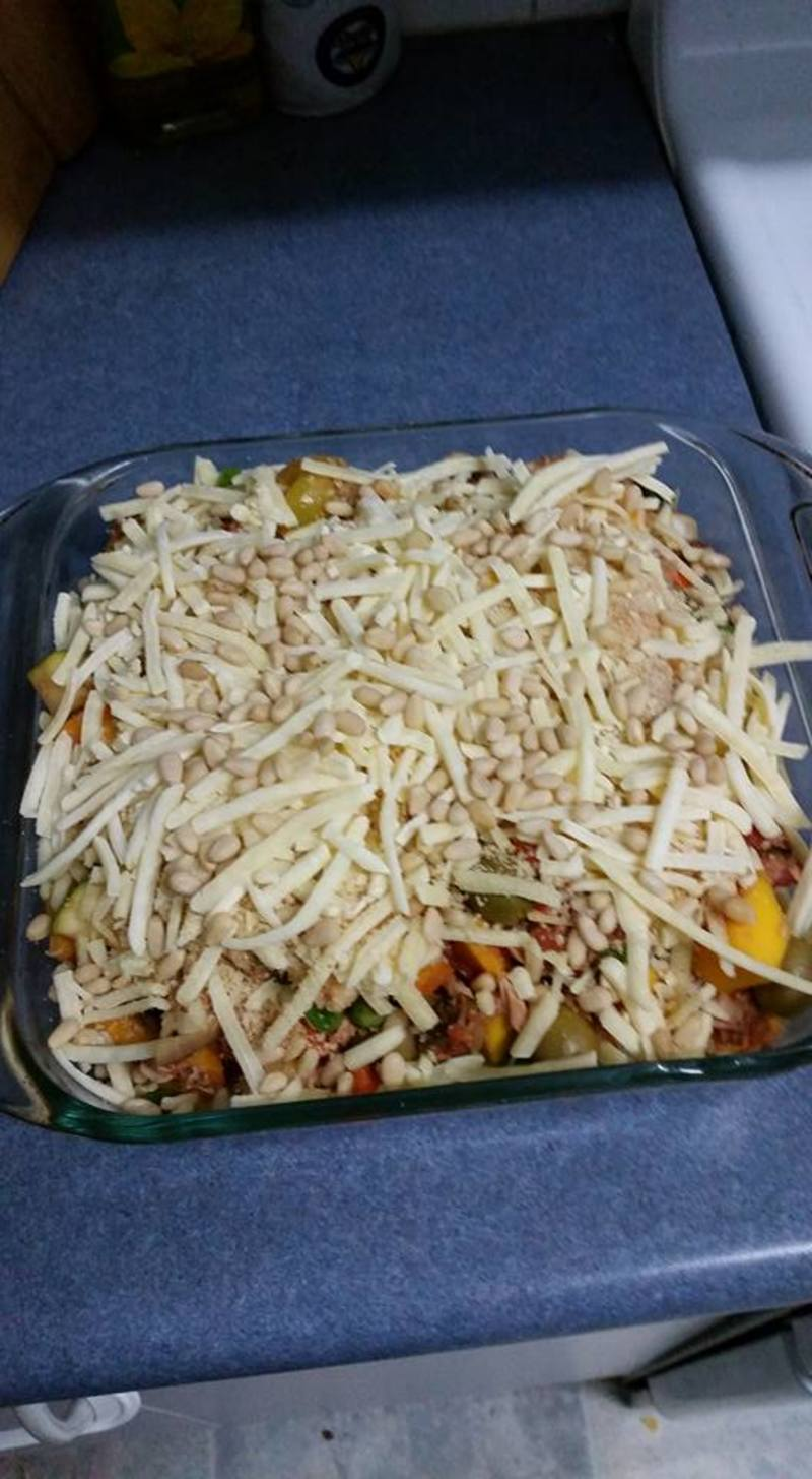 Cheese mix on top  - Tuna and Vegetable Pasta Bake