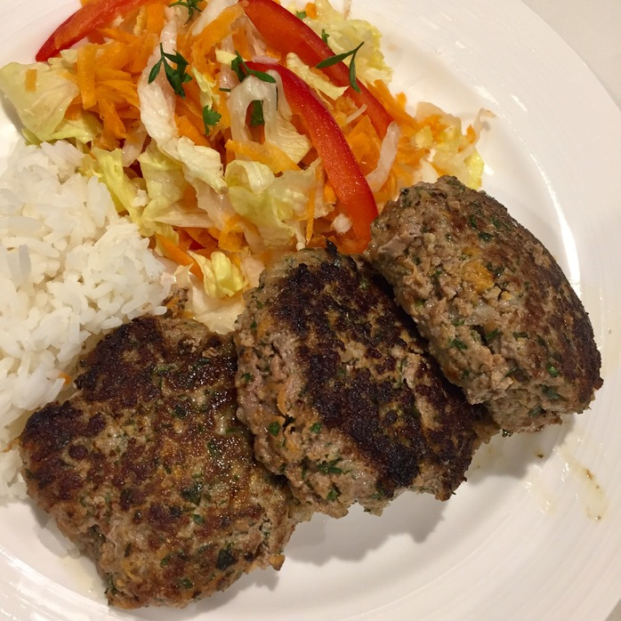 Cheese burger patties and slaw
