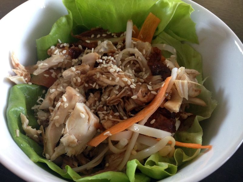 Chicken and sesame lettuce cups, chicken, light lunch, healthy  - Chicken and Sesame Lettuce Cups