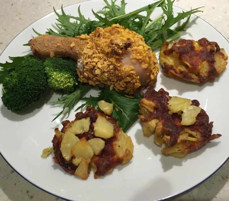 chicken  - Crunchy Baked Filled Drumsticks with Sliced Potato Cakes