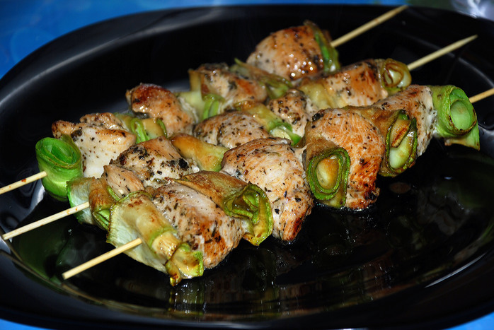 Chicken and Zucchini on a Stick
