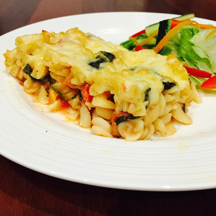 Chicken Spinach Tomato Pasta Bake