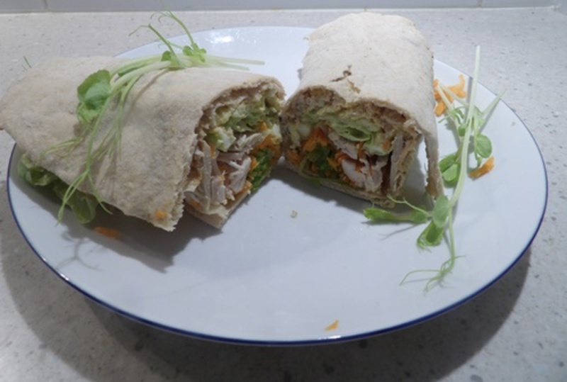 chicken,and,satay,egg,wrap  - Satay Egg and Chicken Salad Wrap