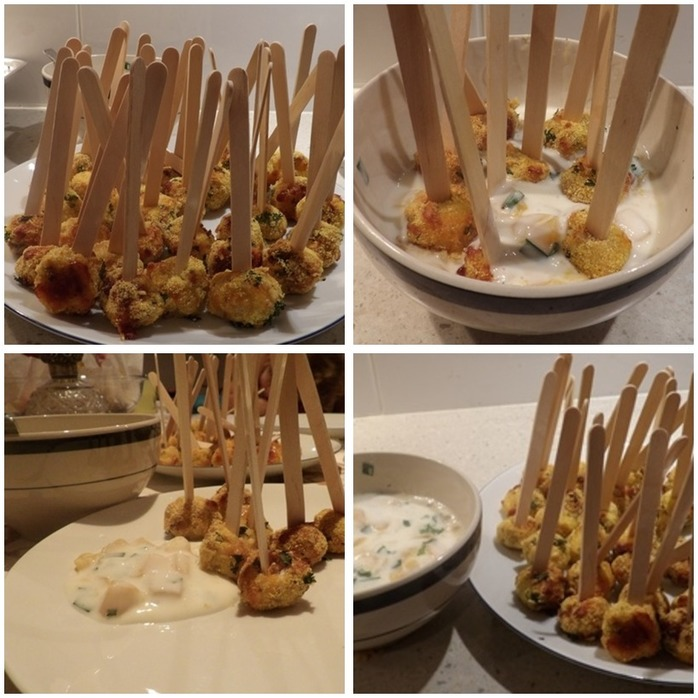 Chickenball Pops with Mango Dunking Sauce Montage