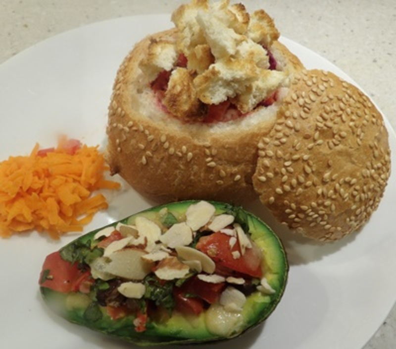 chicken,bread,bowl,with,avocado,baked,with,beans  - Chicken and Vegetable Filled Bread with Stuffed Roast Avocado