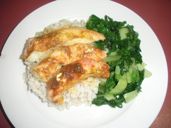 chicken,curry,rice,spice,greens