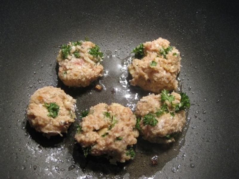 plated,chicken,tiny,balls,on,risotto,with,baby,rocket  - Chicken, Pine Nut And Lemon Tiny Balls