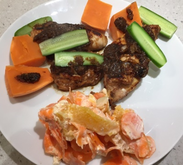 chicken,tamarind,with,a,carrot,pear,and,orange,salad