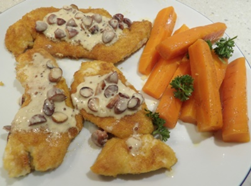 chicken,with,creamy,almond,sauce,and,hot,spicy,carrots  - Chicken with Almond Cream and a Spicy Carrot Salad