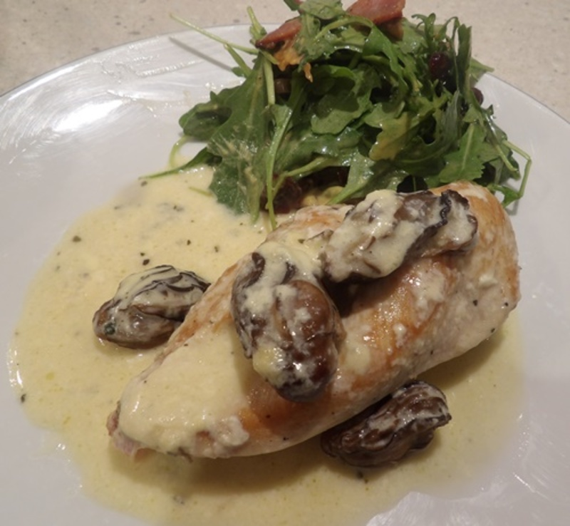 chicken,with,oysters,and,rocket,craisin,salad  - Chicken with Tinned Oysters and Creamy Sauce, with a Cranberry Rocket Salad