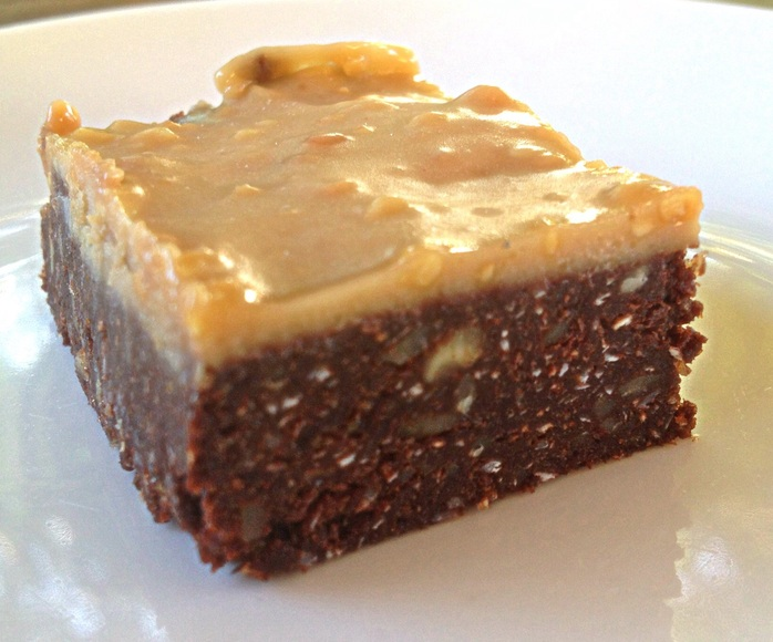 Chocolate brownie with peanut butter frosting