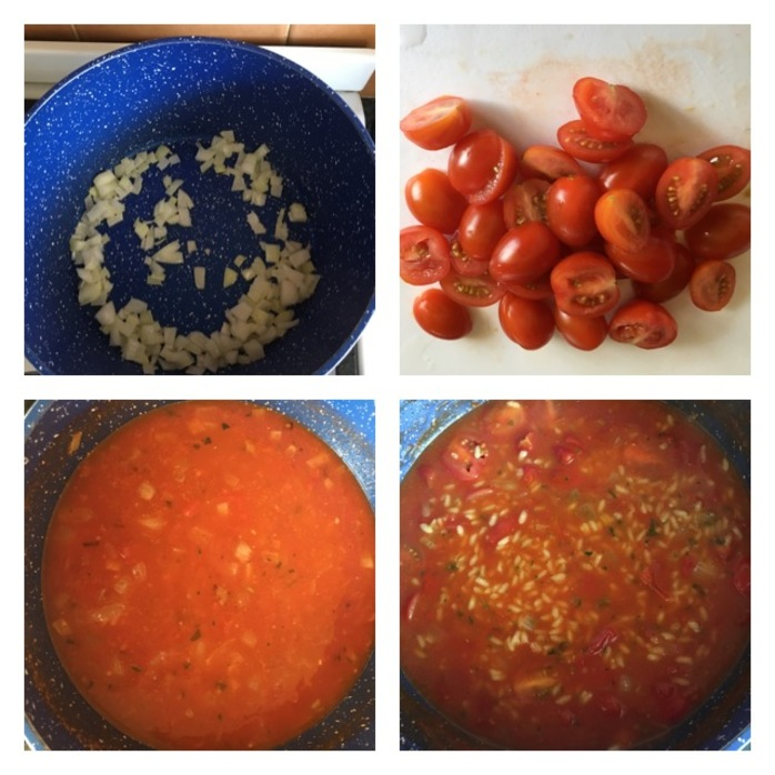Cook the onions, slice the tomatoes, cook risotto , add the tomatoes