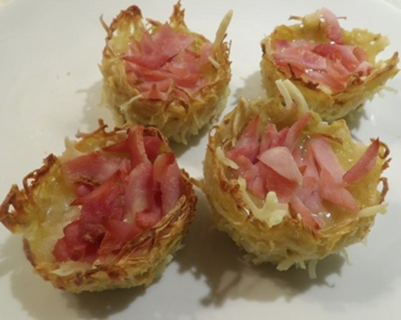 cooked,potato,nests,filled,with,cheese,and,bacon  - Potato Nests with Cheese and Bacon