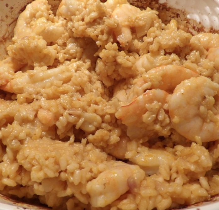 cooked,prawn,risotto,with,coconut,milk,and,white,radish