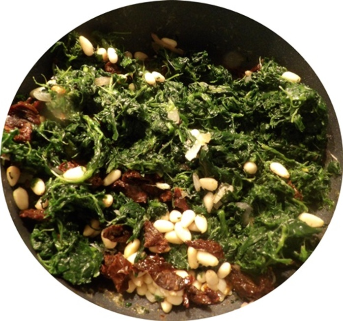 cooking,spinach,onion,pinenuts