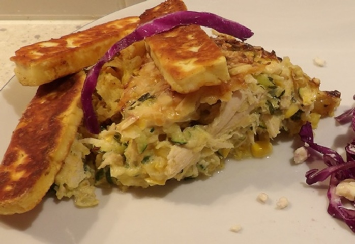 corn,and,chicken,pie,served,with,haloumi,and,salad