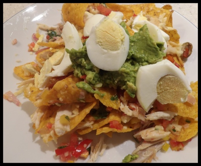 corn,chips,with,homemade,salsa,chicken,and,egg