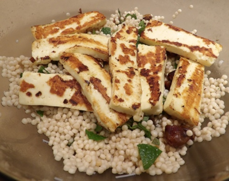 couscous,with,almonds,mint,dates,and,haloumi  - Couscous and Almonds with Haloumi