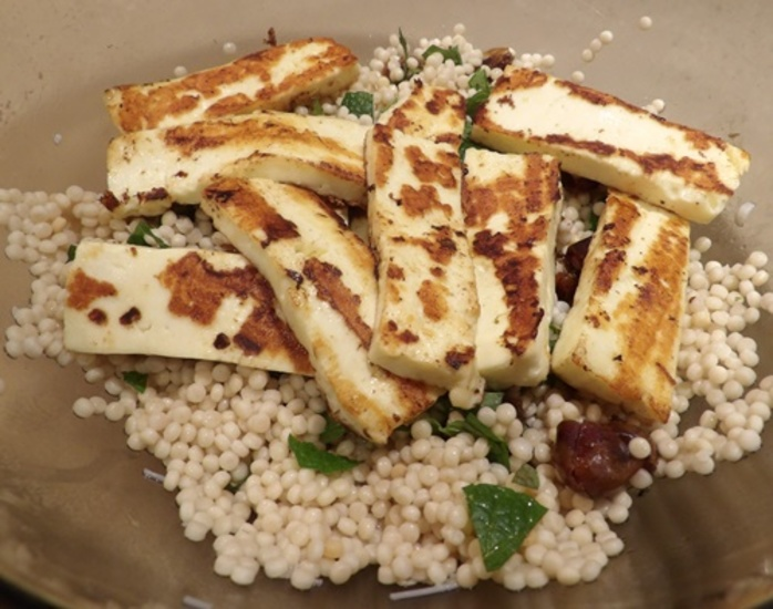 couscous,with,almonds,mint,dates,and,haloumi