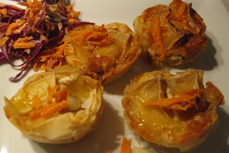 crab,and,camembert,cheese,mini,quiches  - Crab And Camembert Cheese In Filo Pastry