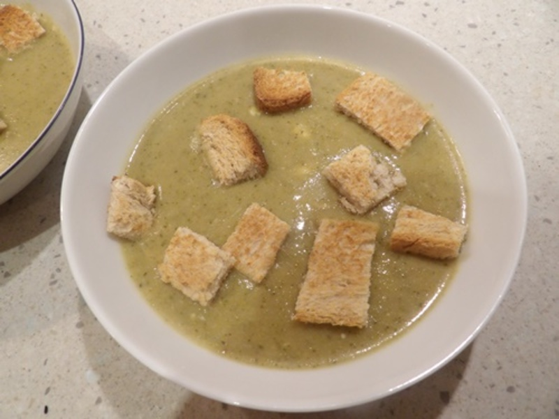 cream,of,broccoli,soup,with,croutons  - Broccoli and Blue Cheese Soup