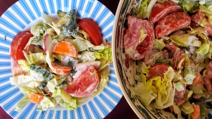 Garden salad with creamy mayonnaise dressing