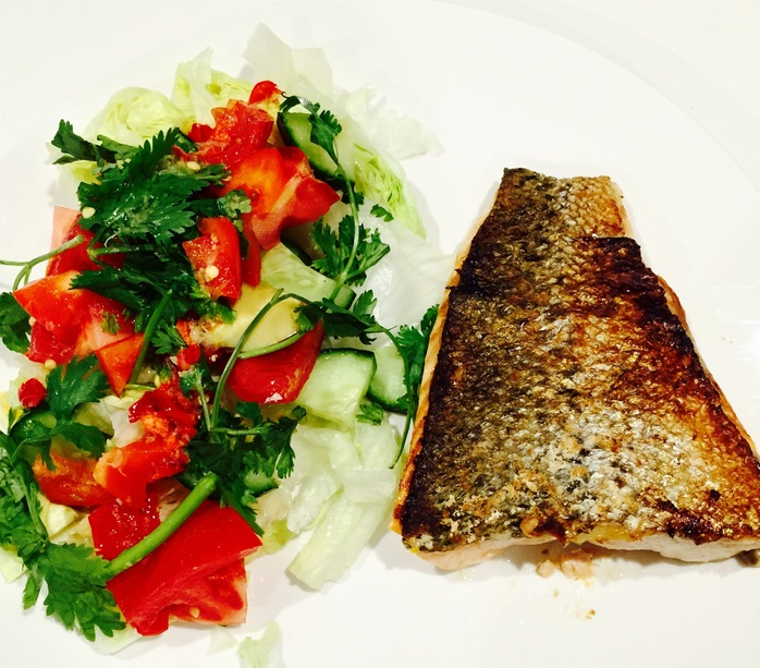 Crispy Skin Salmon With Thai Salad With Coriander Lemon And Chilli Sauce