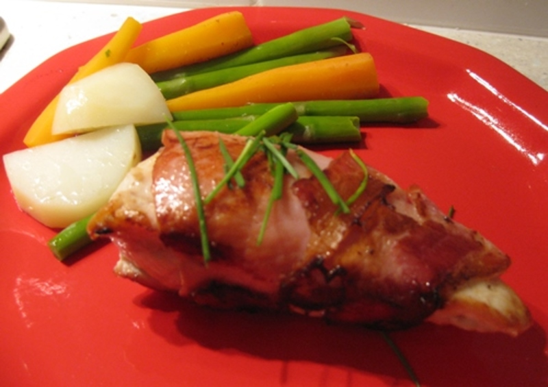 crispy,bacon,chicken,wraps,with,steamed,vegetables  - Crispy Bacon Wrapped Chicken Parcels
