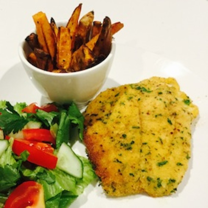 Crumbed Fish And Sweet Potato Chips