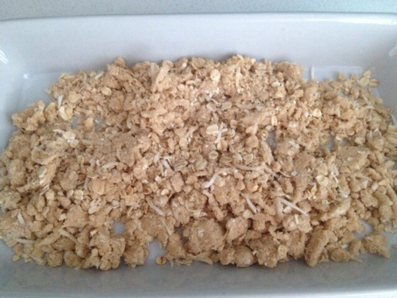 Apple with crumble topping  - Poached Apple with Crumble Topping