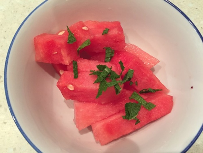 cut,up,watermelon,with,mint